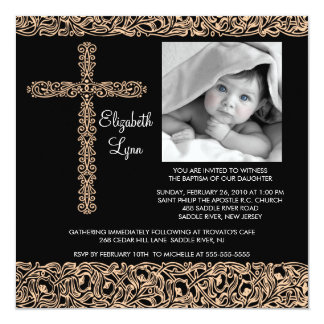 Vintage Cross Photo Baptism Inviation 5.25x5.25 Square Paper Invitation Card