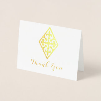 Vintage Cross Religious Thank You Foil Card