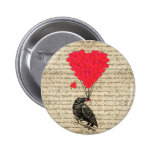 Vintage Crow and heart shaped balloons 6 Cm Round Badge