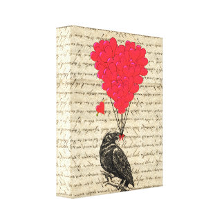 Vintage Crow and heart shaped balloons Canvas Prints