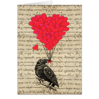 Vintage Crow and heart shaped balloons Greeting Card