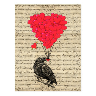 Vintage Crow and heart shaped balloons Postcard