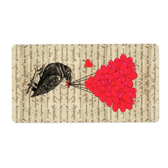 Vintage Crow and heart shaped balloons Shipping Label
