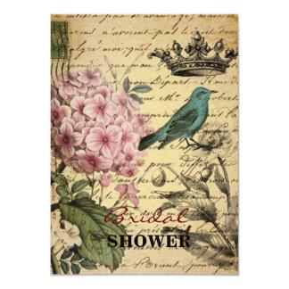 Vintage crown botanical art hydrangea french bird card