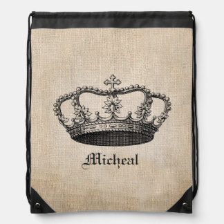 Vintage Crown Drawstring Backpack with Custom Name
