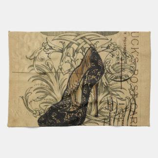 vintage crown fashion queen stiletto tea towel