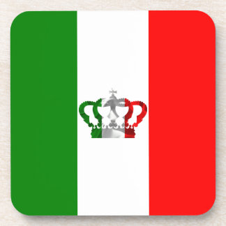 Vintage Crown Modern Italy Italian Flag Drink Coasters