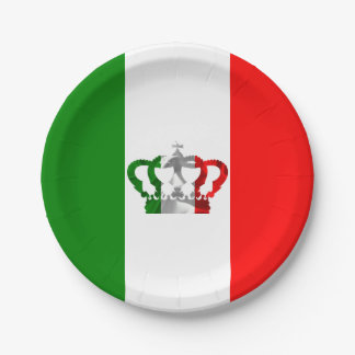 Vintage Crown Modern Italy Italian Flag Paper Plate