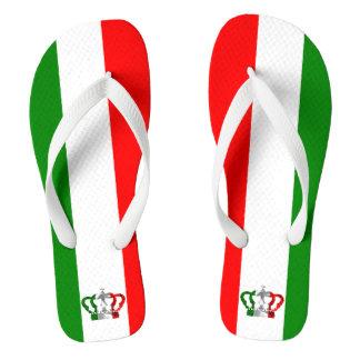 Vintage Crown Modern Italy Italian Flag Thongs