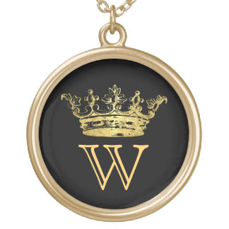 Vintage Crown Monogram Gold Plated Necklace