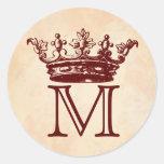 Vintage Crown Monogram Round Sticker