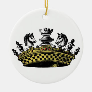 Vintage Crown With Chess Pieces Color Ceramic Ornament