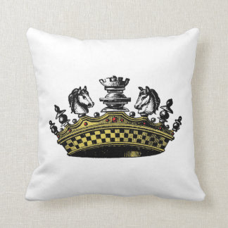 Vintage Crown With Chess Pieces Color Cushion