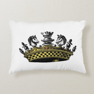 Vintage Crown With Chess Pieces Color Decorative Cushion
