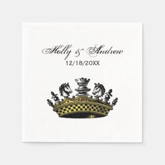 Vintage Crown With Chess Pieces Color Paper Serviettes