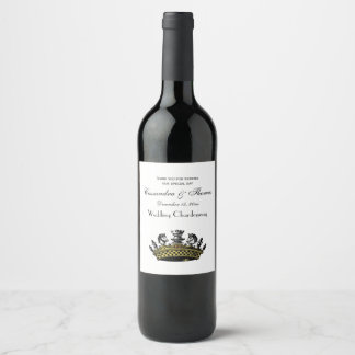 Vintage Crown With Chess Pieces Color Wine Label
