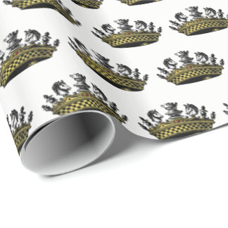 Vintage Crown With Chess Pieces Color Wrapping Paper