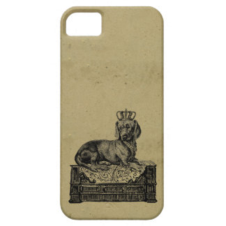Vintage crowned dachshund dog drawing shabby chic iPhone 5 cover