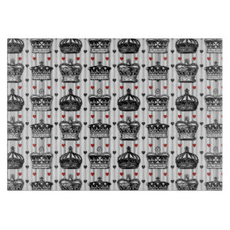 Vintage Crowns Hearts Stripes Pattern Cutting Board
