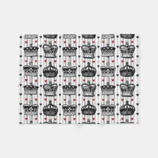 Vintage Crowns Hearts Stripes Pattern Fleece Blanket