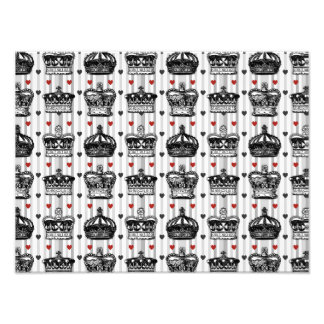 Vintage Crowns Hearts Stripes Pattern Photo Print