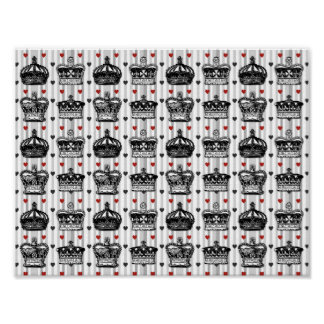 Vintage Crowns Hearts Stripes Pattern Poster