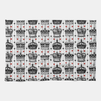Vintage Crowns Hearts Stripes Pattern Tea Towel