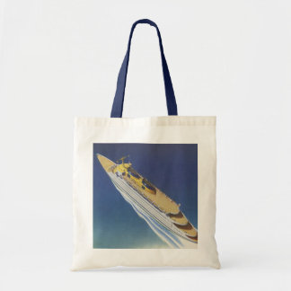 Vintage Cruise Ship in the Ocean Seen from Above Canvas Bag