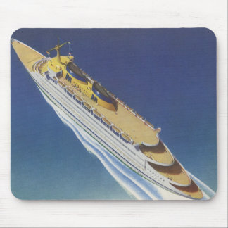 Vintage Cruise Ship in the Ocean Seen from Above Mouse Pad