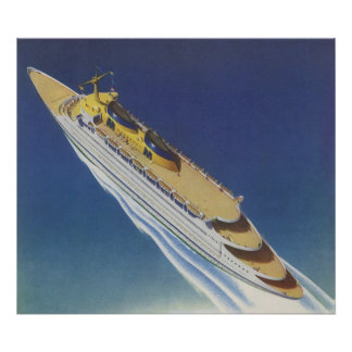 Vintage Cruise Ship in the Ocean Seen from Above Print