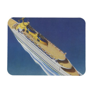 Vintage Cruise Ship in the Ocean Seen from Above Rectangle Magnet