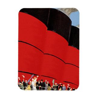 Vintage Cruise Ship Passengers Waving Goodbye Rectangular Photo Magnet