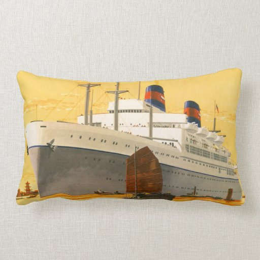 Vintage Cruise Ship to the Orient with Junks Boats Throw Pillows