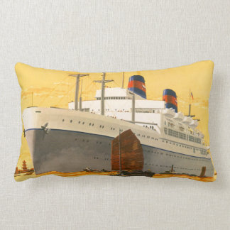 Vintage Cruise Ship to the Orient with Junks Boats Cushions