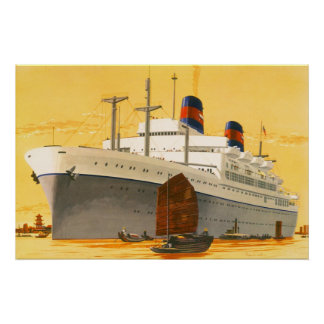 Vintage Cruise Ship to the Orient with Junks Boats Poster