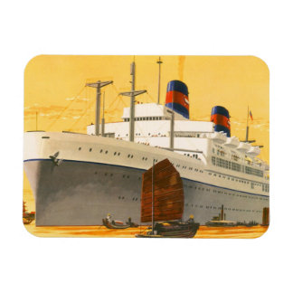 Vintage Cruise Ship to the Orient with Junks Boats Rectangle Magnets