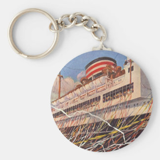 Vintage Cruise Ship Vacation; Bon Voyage Party! Basic Round Button Key Ring