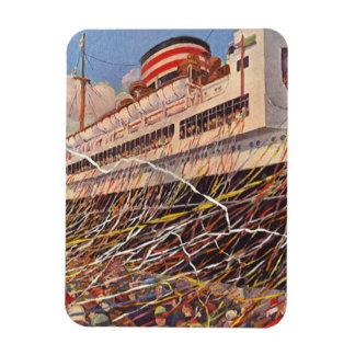 Vintage Cruise Ship Vacation; Bon Voyage Party! Rectangular Photo Magnet