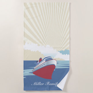 Vintage cruise ship with custom name beach towel
