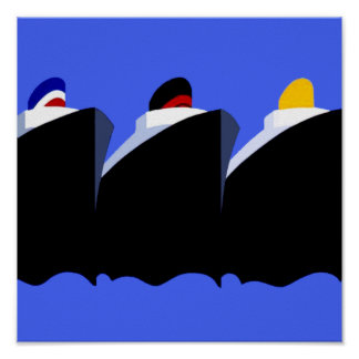 Vintage Cruise Ships Poster Ocean Liners