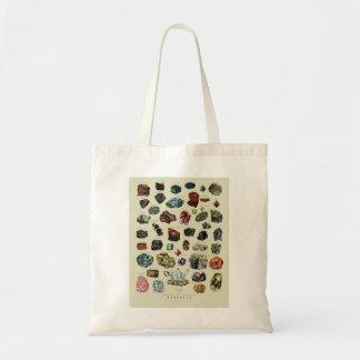 Vintage crystal gemstone gems minerals print tote bag