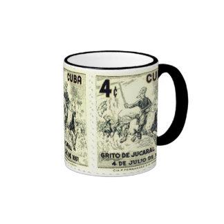 Vintage Cuba Postage Stamp Black Ringer Mug