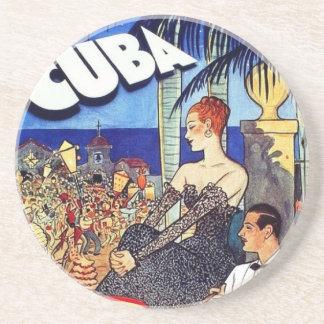 Vintage Cuba So Near So Fast Travel Beverage Coasters