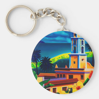 Vintage Cuba Travel Basic Round Button Key Ring