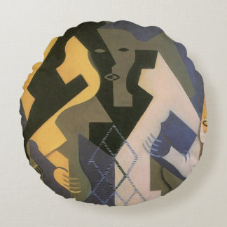 Vintage Cubism, Harlequin at a Table by Juan Gris Round Cushion