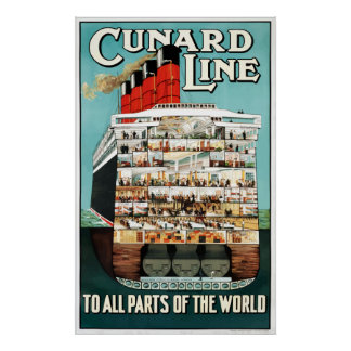 Vintage Cunard Line Ocean Liner Travel Poster