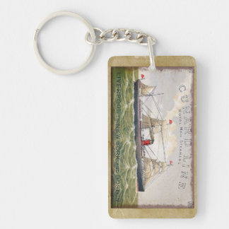 Vintage Cunard Line Royal Mail Steamers Double-Sided Rectangular Acrylic Key Ring