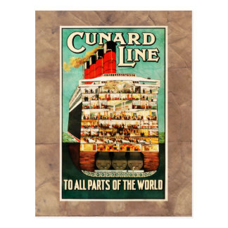 Vintage Cunard Line Sea Travel Advert Postcard