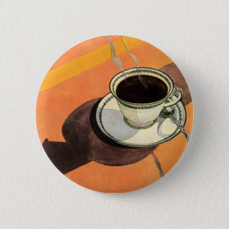 Vintage Cup of Coffee, Saucer, Spoon with Shadow 6 Cm Round Badge