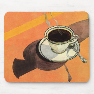 Vintage Cup of Coffee, Saucer, Spoon with Shadow Mousepads